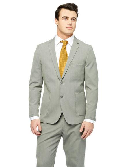 Men's Single Checked Pattern Young Look Sand Wool Feel Slim Fit Suit