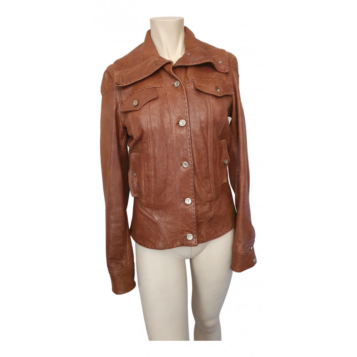 Trussardi Jeans \N Camel Leather jacket for Women 42 IT