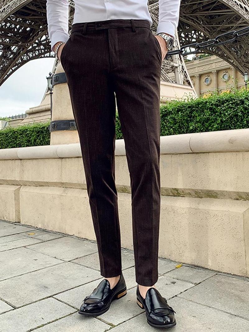 Ericdress Zipper Ankle Length Color Block Men's Suit Trousers