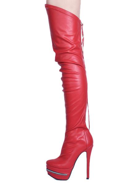 Milanoo Botas altas mujer negro  botas altas negras de PU de tacon de stiletto de puntera de forma de almendra 14cm Primavera Otoño 3.5cm