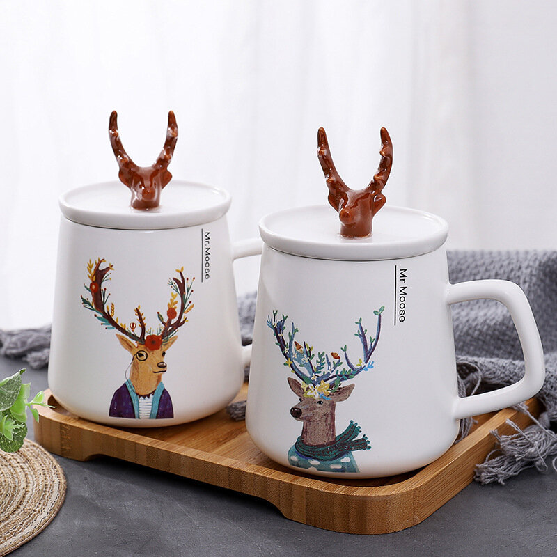 Nordic Style INS Creative Antlers Ceramic Cup With Lid Cartoon Mug Couple Gift