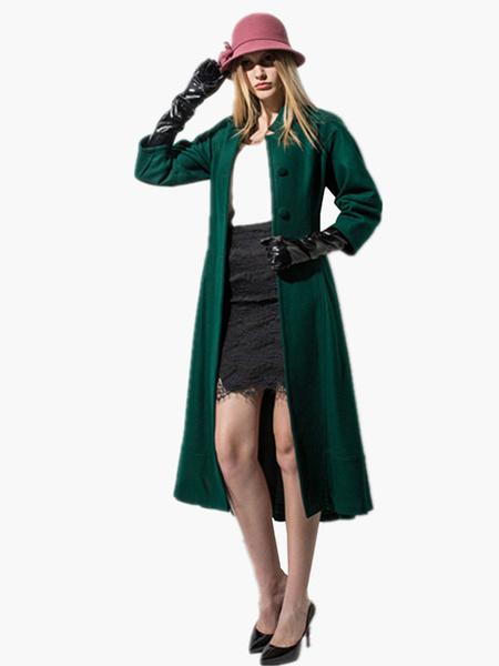 Milanoo abrigo mujer con 3/4 manga con escote Ilusion de mezclada de lana Color liso Moda Mujer con botones de corte ajustada estilo moderno Invierno