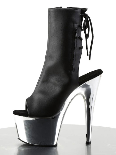 Milanoo Sexy High Heel Boots Peep Toe Lace Up Zipper Stiletto Rave Club Blond PU Back Tie Sexy Ankle Boots