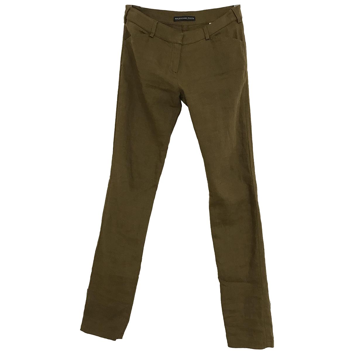 Balenciaga - Pantalon   pour femme en lin - kaki