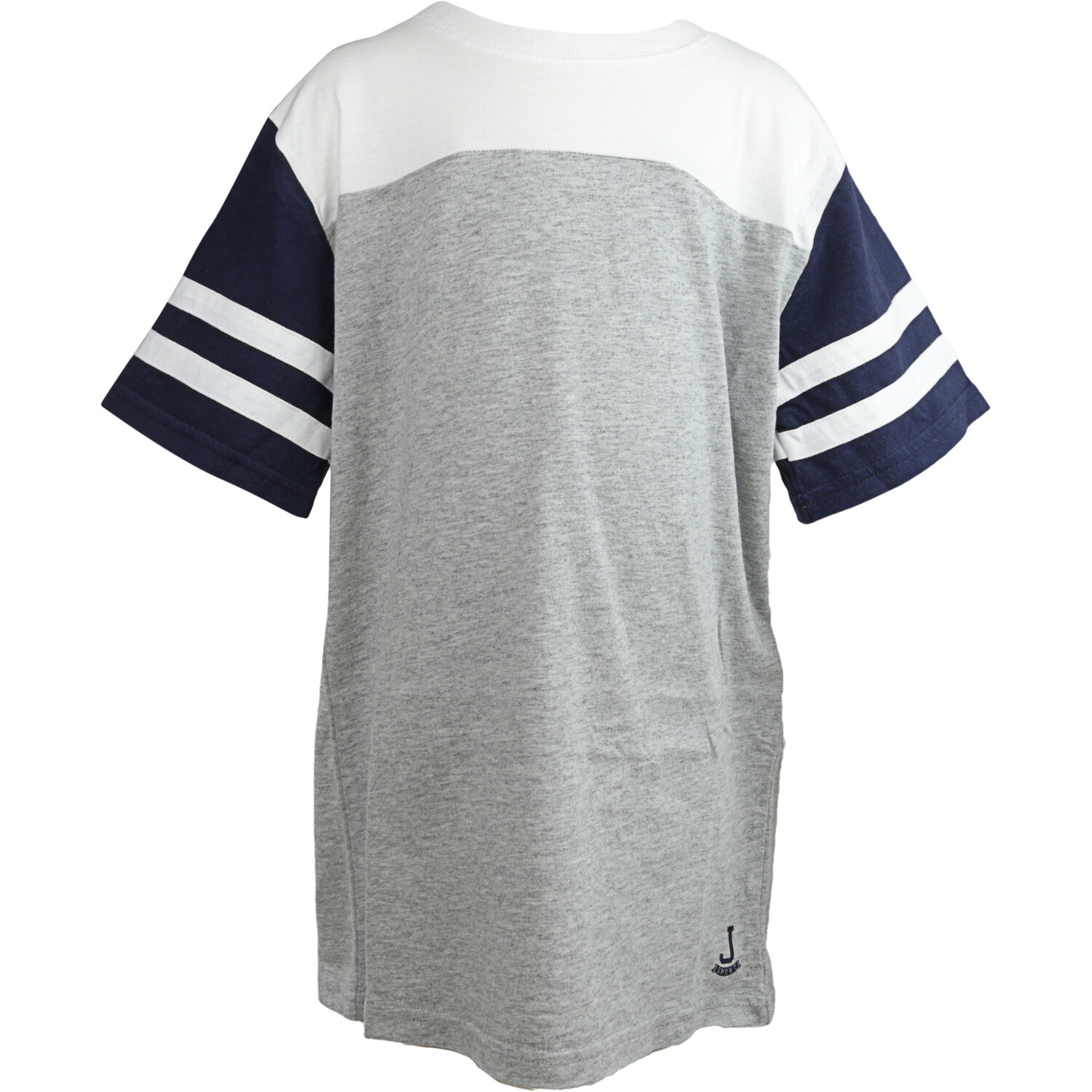 Janie And Jack Grey / White Striped Sleeve Colorblock Tee T-Shirt - 4