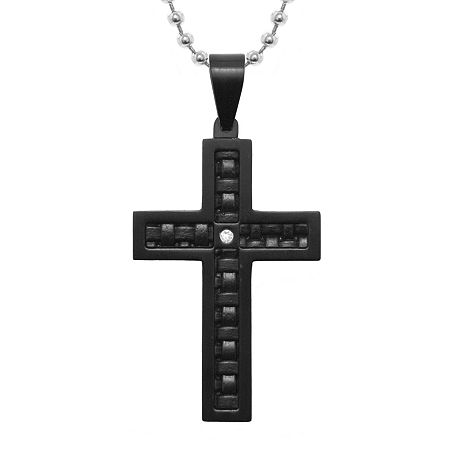 Mens Diamond-Accent Stainless Steel & Leather Cross Pendant Necklace, One Size , Black