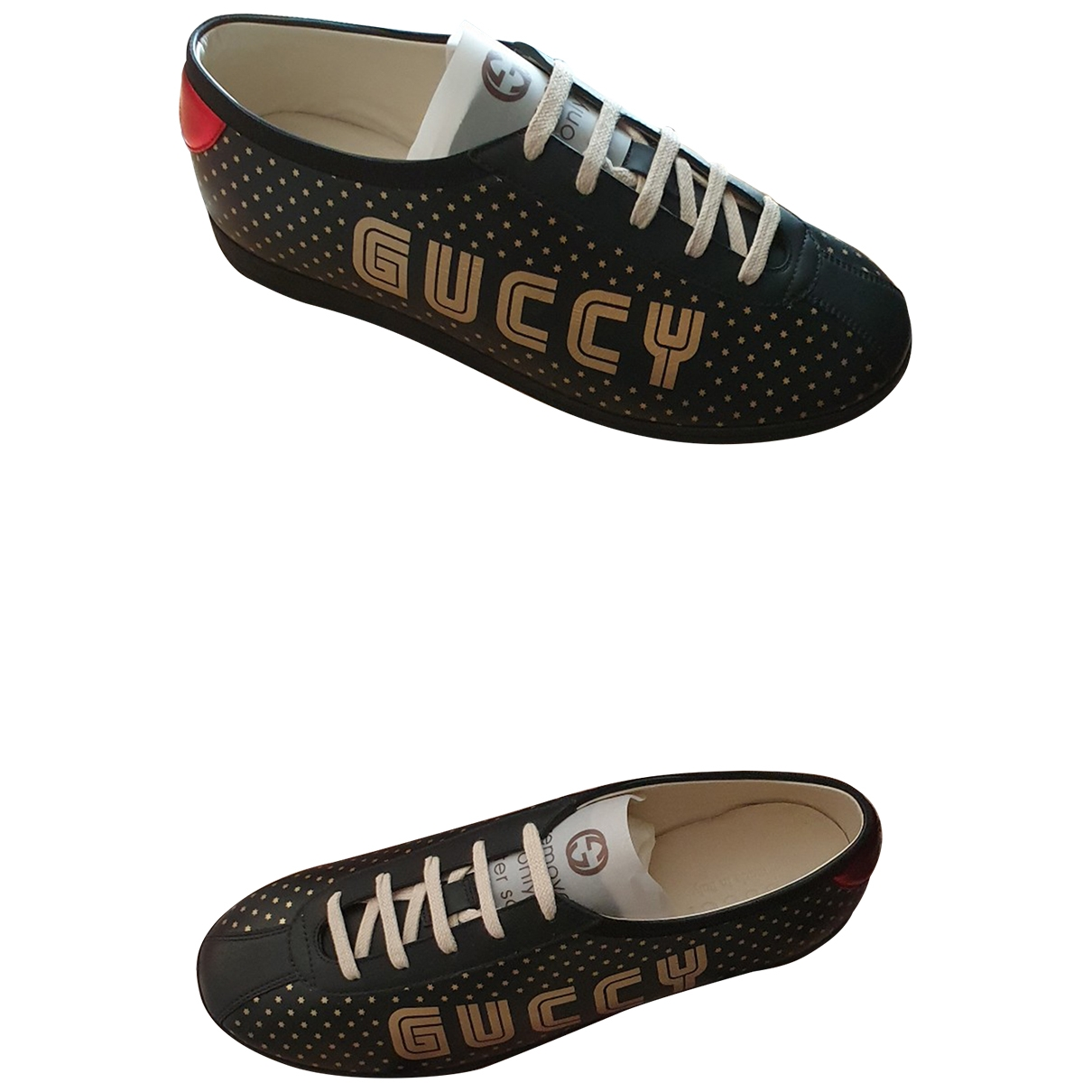 Gucci Falacer Black Leather Trainers for Men 41 EU