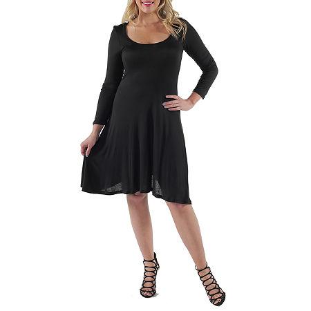 24/7 Comfort Apparel-Plus Casual Fit & Flare Dress, 6x , Black