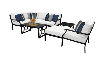 MADISON-08n-WHITE Kathy Ireland Homes and Gardens Madison Ave. 8 Piece Aluminum Patio Set 08n with 1 Set of Snow and 1 Set of Alabaster
