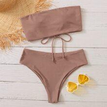 Lace Up Bandeau High Waisted Bikini Swimsuit