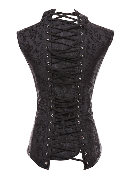 Milanoo Black Steampunk Costume Metal Details Lace Up Corset For Women Halloween