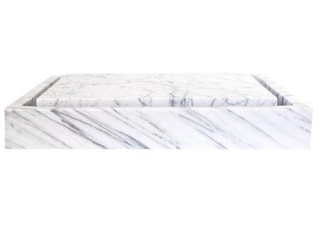 EB_S006CW-P Rectangular Infinity Pool Sink - White Carrara