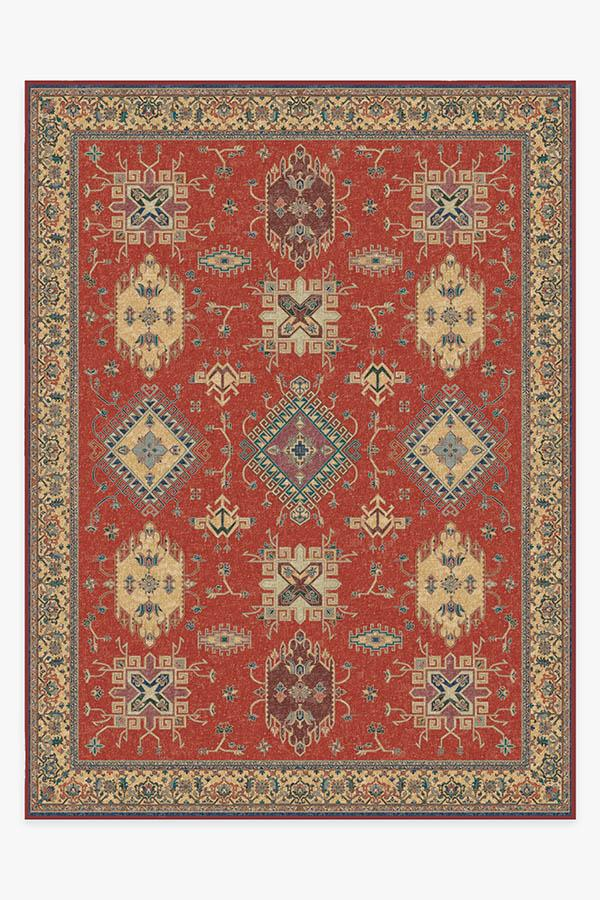 Washable Rug Cover & Pad | Ademi Paprika Red Rug | Stain-Resistant | Ruggable | 9'x12'