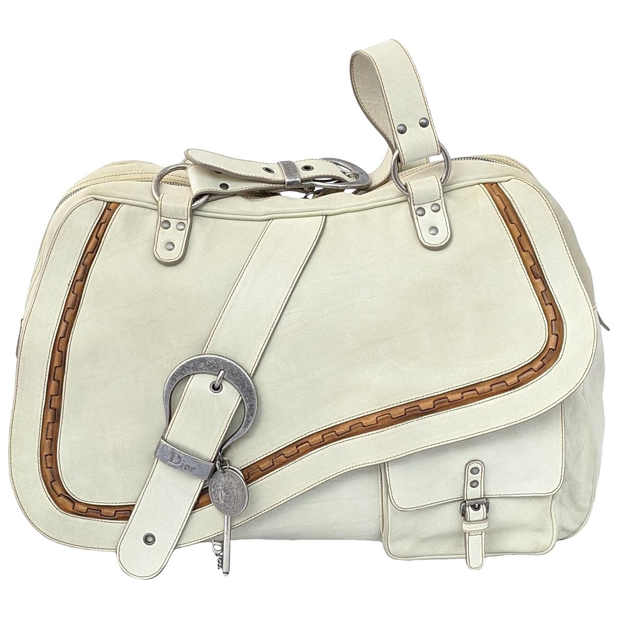 Dior Gaucho Handtasche in  Ecru Leder