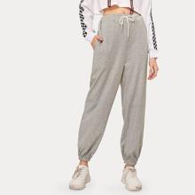 Drawstring Waist Grey Sweatpants