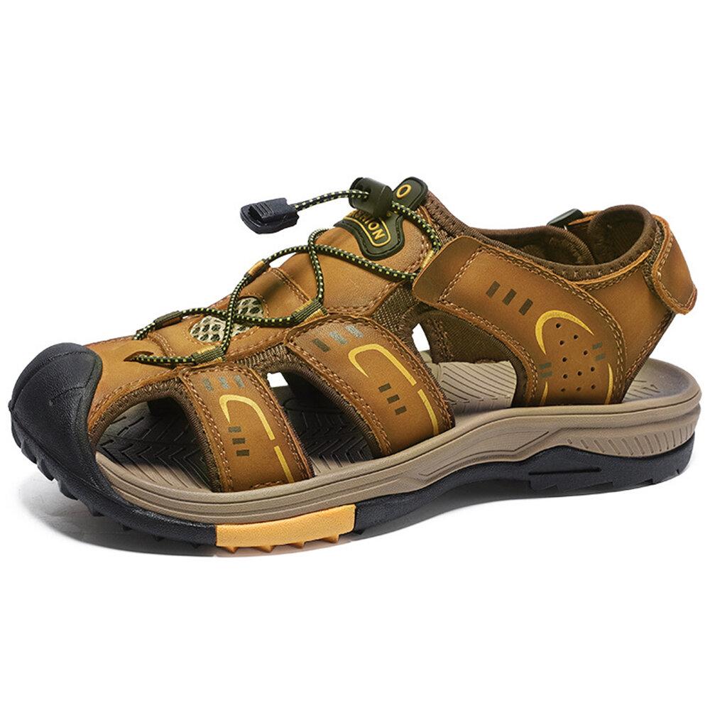 Men Anti-collision Non Slip Elastic Lace Large Size Outdoor Leather Sandals