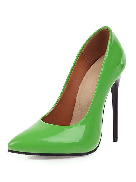 Milanoo Zapatos de tacon con punta de charol Zapatos de tacon alto con tacon de aguja Zapatos de talla grande sexy para mujer