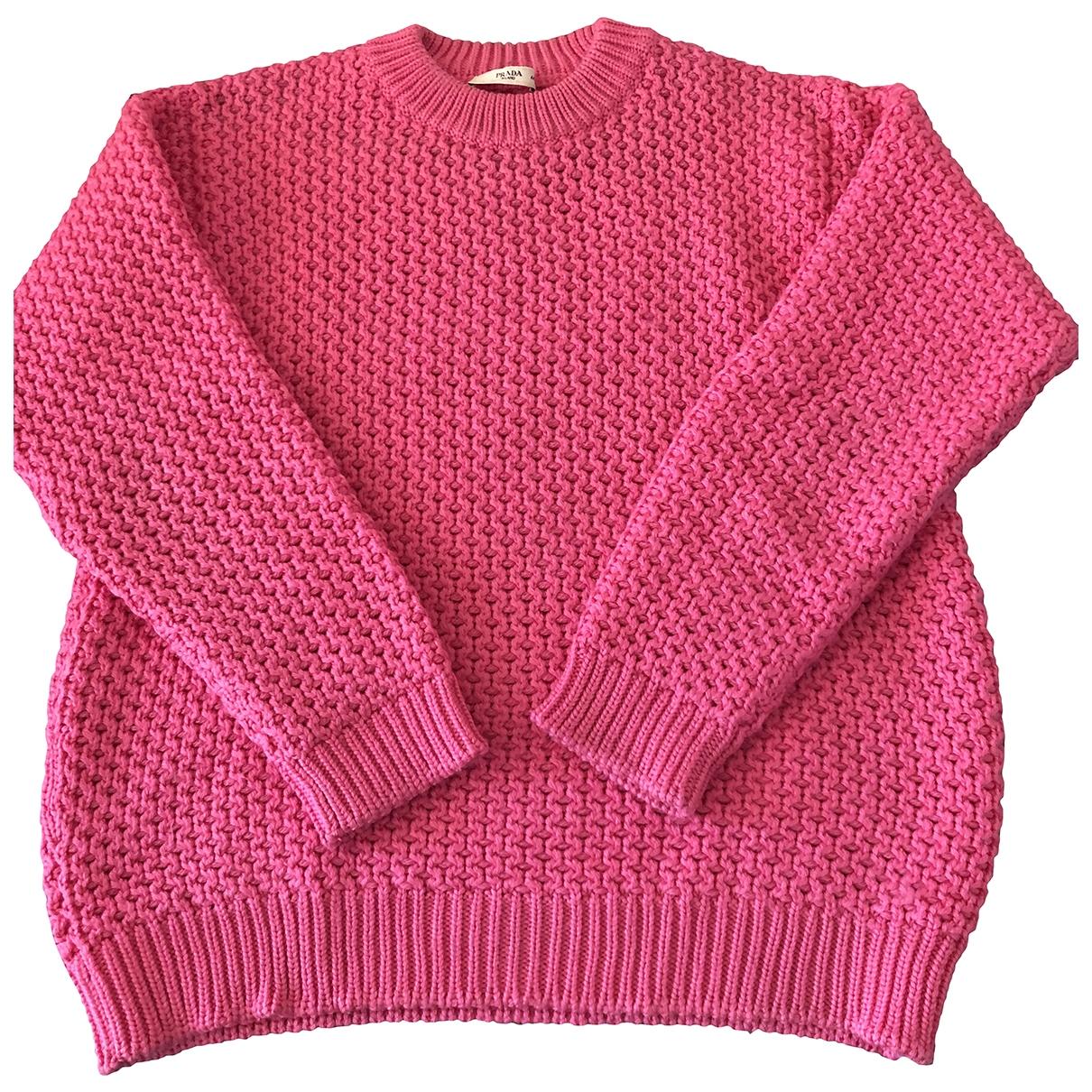 Prada - Pull   pour femme en laine - rose