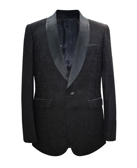 Men's Black Shawl Lapel 1 Button Matching Fashion Bow Tie