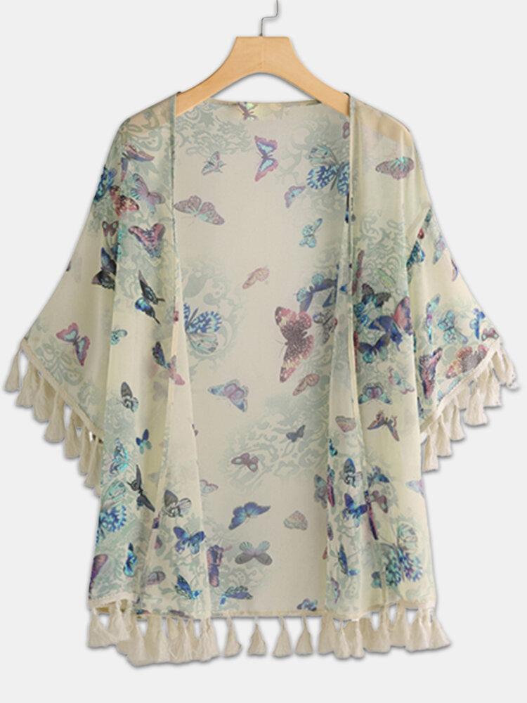 Butterfly Print Tassel Bohemian Beach Plus Size Kimono
