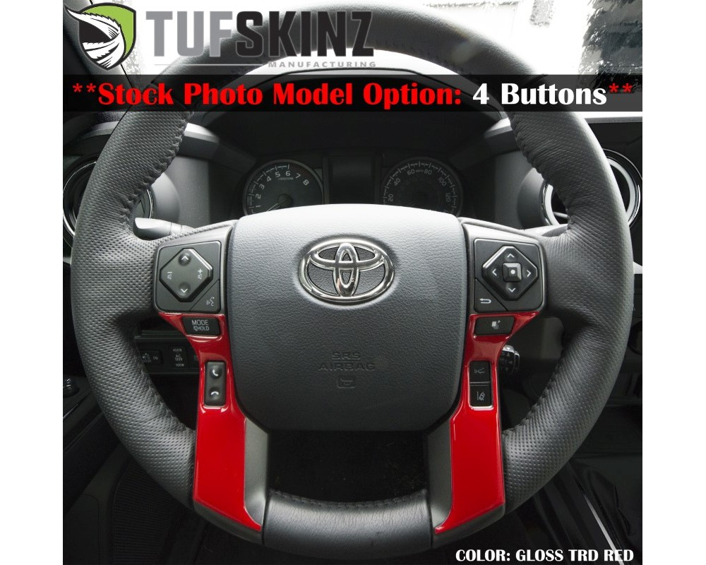 Tufskinz TAC039-RUN-RED-G Steering Wheel Trim With 4 Buttons Fits 2014-2020 Toyota 4Runner 2 Piece Kit In Gloss Trd Red