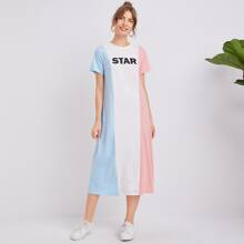 Letter Graphic Colorblock Tee Dress