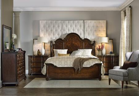5381-90650QPB2CDM 5-Piece Leesburg Collection Bedroom Set with Queen Size Panel Bed + 2X Chest + Dresser + Mirror  in