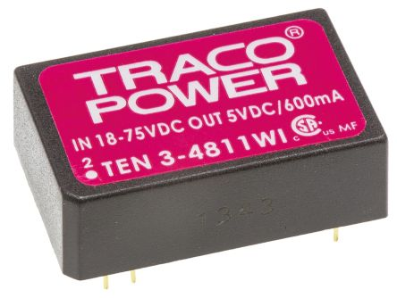 TRACOPOWER TEN 3WI 3W Isolated DC-DC Converter Through Hole, Voltage in 18 → 75 V dc, Voltage out 5V dc