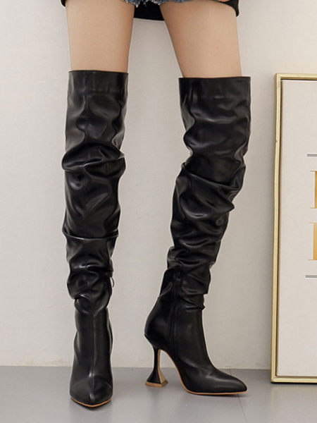 Milanoo Black Over The Knee Boots PU Leather Pointed Toe High Heel Slouch Boots Thigh High Boots