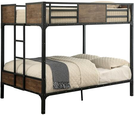 Clapton Collection CM-BK029FF Full Size Bunk Bed with Industrial Inspired Design  Wood Panels  Attached Ladder  Nailhead Accents and Full Metal