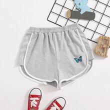 Girls Butterfly Print Contrast Binding Shorts
