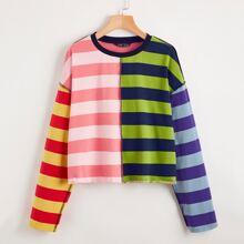 Pullover mit Streifen, Stich und sehr tief angesetzter Schulterpartie