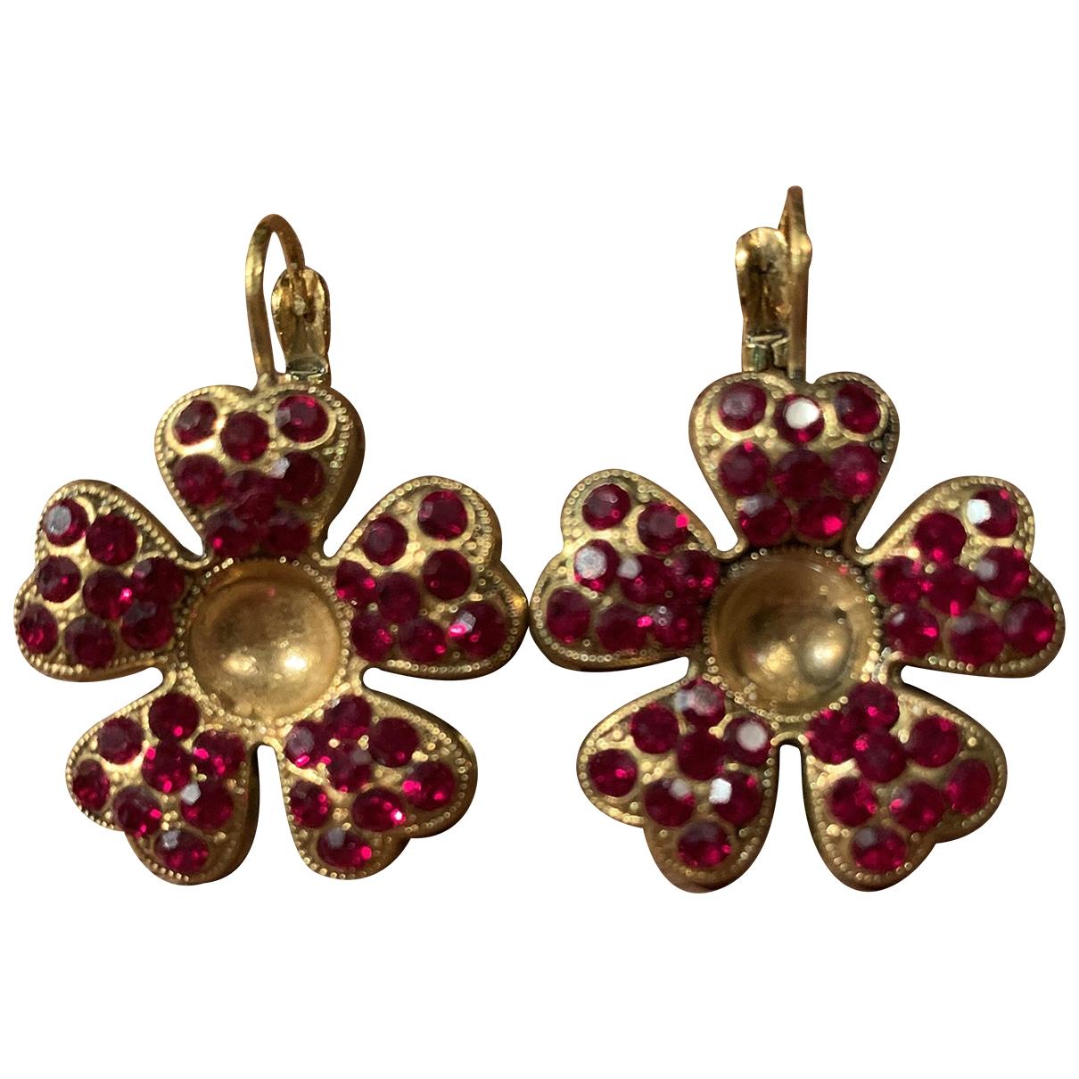 - Boucles doreilles Motifs Floraux pour femme en cristal - rouge