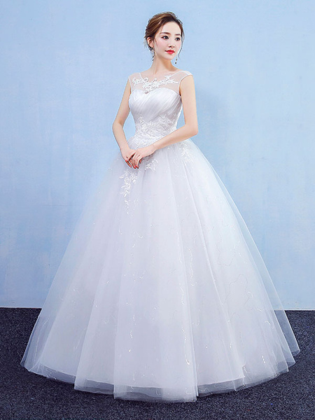 Milanoo Princess Ball Gown Wedding Dresses White Sleeveless Lace Tulle Maxi Bridal Dress