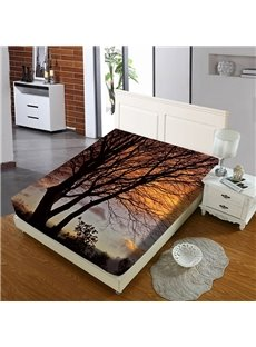 Black Silhouettes of Branches at Dusk Reactive Printing 1-Piece Polyester Bed Cover / Mattress Cover