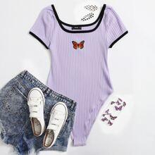 Butterfly Print Rib-knit Tee Bodysuit
