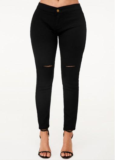 Black High Waist Shredded Skinny Jeans - XL