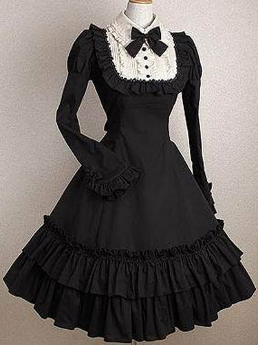 Milanoo Gothic Lolita Dress OP Black Bows Ruffles Cotton Lolita One Piece Dress