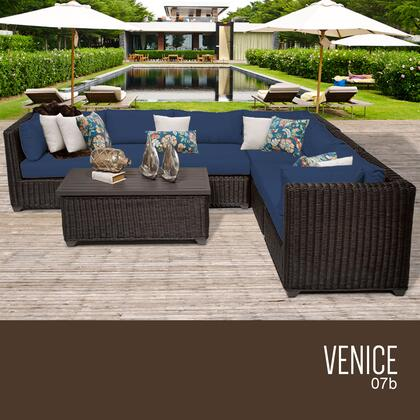 VENICE-07b-NAVY Venice 7 Piece Outdoor Wicker Patio Furniture Set 07b with 2 Covers: Wheat and