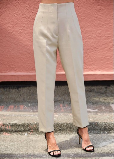 Beige High Waist Zipper Fly Pants - L