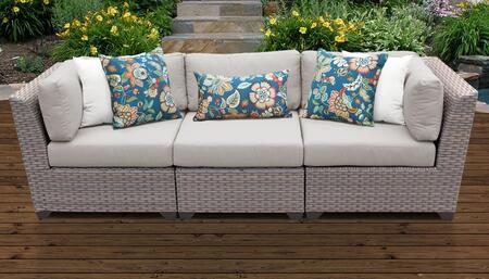 Florence Collection FLORENCE-03c-BEIGE 3-Piece Patio Sofa with 2 Corner Chairs and 1 Armless Chair - Grey and Beige