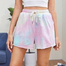 Shorts mit Kordelzug um die Taille, ungesaeumtem Saum und Batik