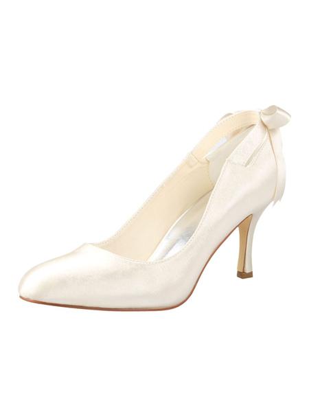 Milanoo Zapatos de novia de seda y saten Zapatos de Fiesta de tacon de stiletto Zapatos marfil  Zapatos de boda de puntera redonda 8.5cm con lazo