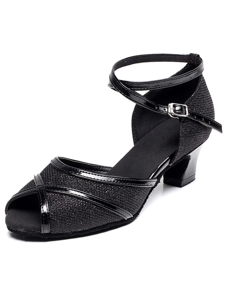 Milanoo Peep Toe Latin Dance Sandals Black Straps Glitter Heels for Women