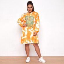 Plus Graphic Print Tie Dye Sweatshirt Dress