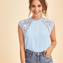 Solid Guipure Lace Yoke Blouse