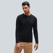 Men Buttoned Crew Neck Drop Shoulder Sweater