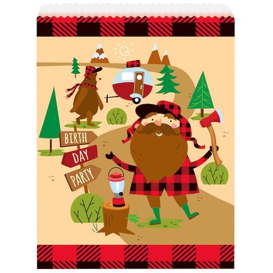 Paper Buffalo Plaid Lumberjack Birthday Goodie Bags, 8Ct By Unique | Michaels®