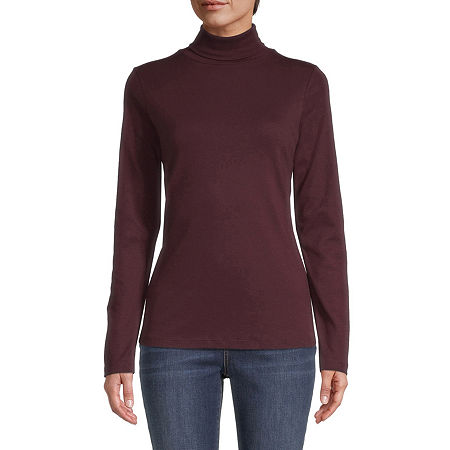 St. John's Bay-Womens Turtleneck Long Sleeve T-Shirt, Petite Small , Red