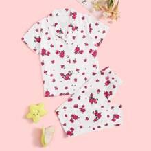 Conjunto de pijama de niñas con estampado floral